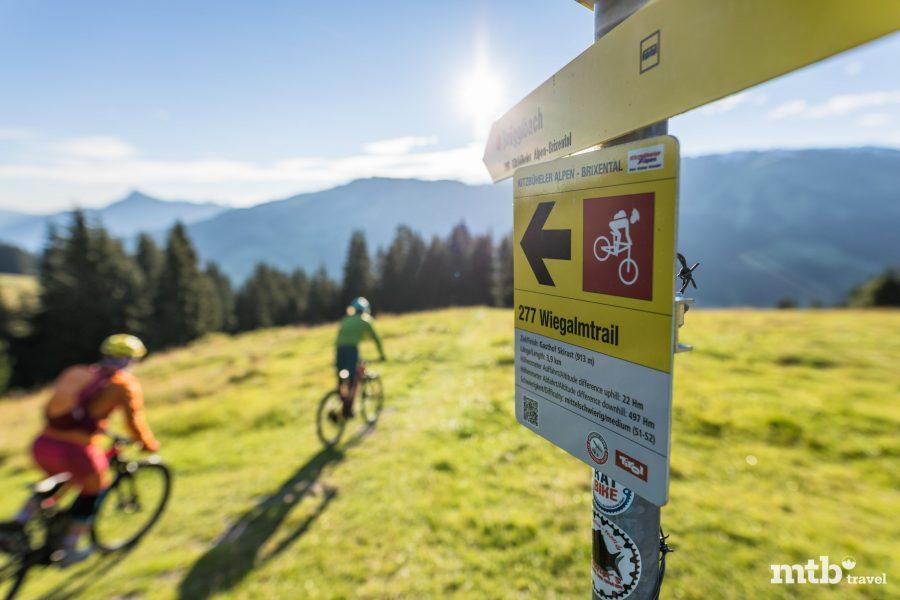 Wiegalm Trail Beschilderung Mountainbike Wegenetz Kitzbüheler Alpen Tirol