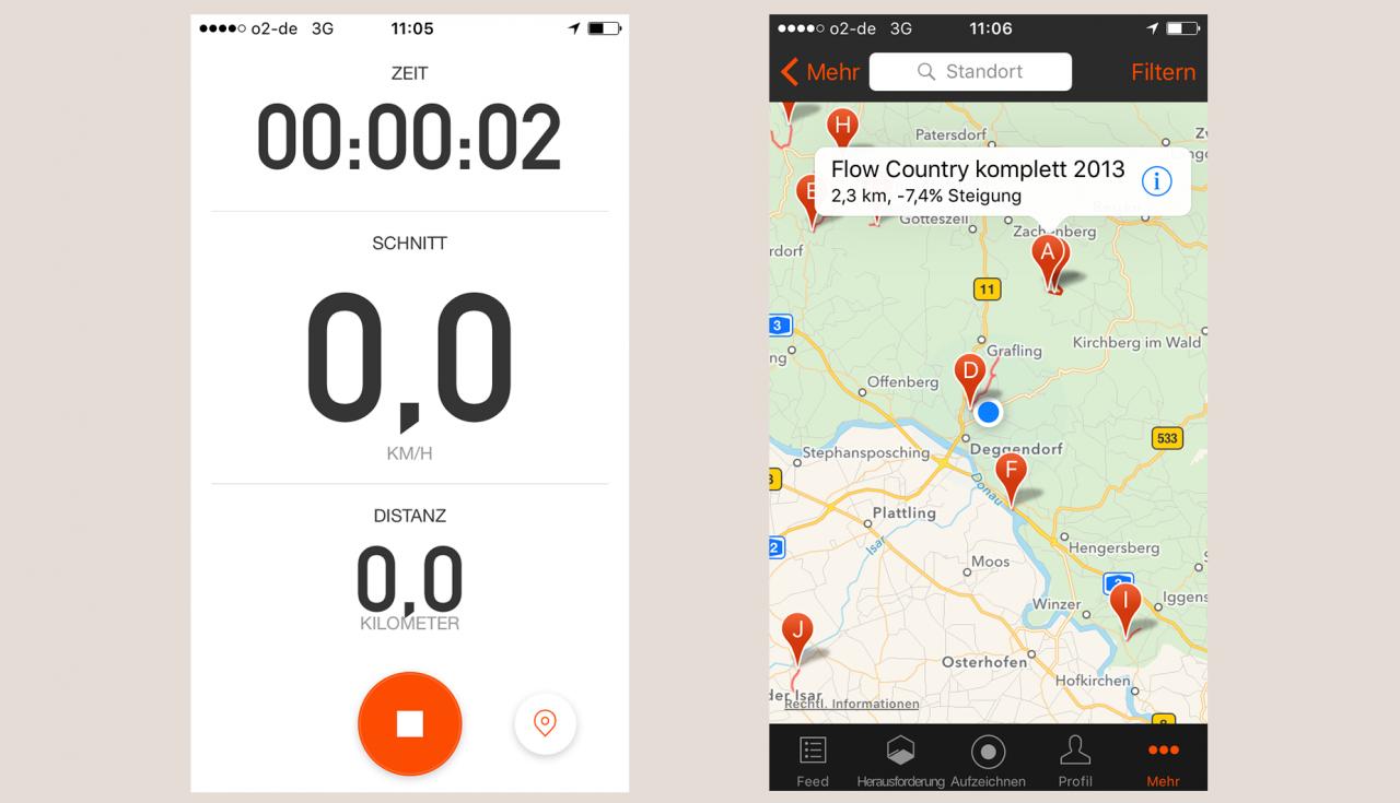 Fahrrad Navi App Test Strava
